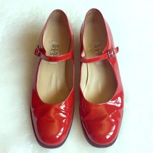 Nine West Red Patent Laether Mary Jane